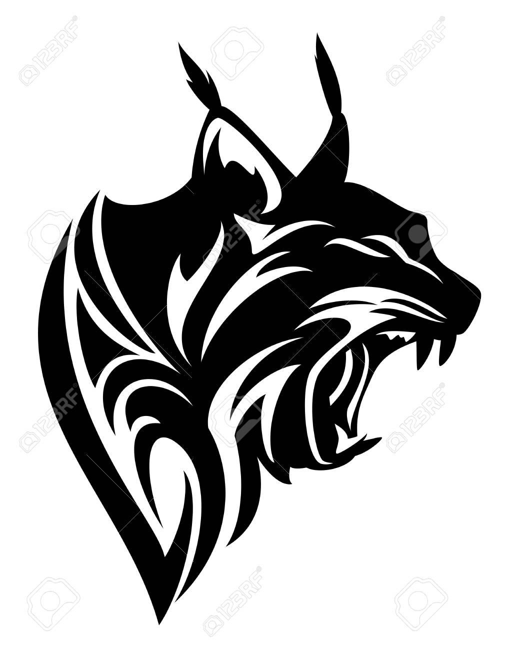 Roaring lynx profile head black and white vector tribal design stock vector 87782091
