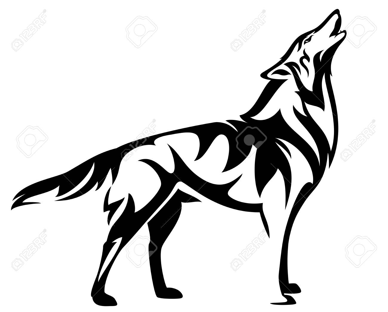 Standing howling wolf black and white vector design stock vector 91418653