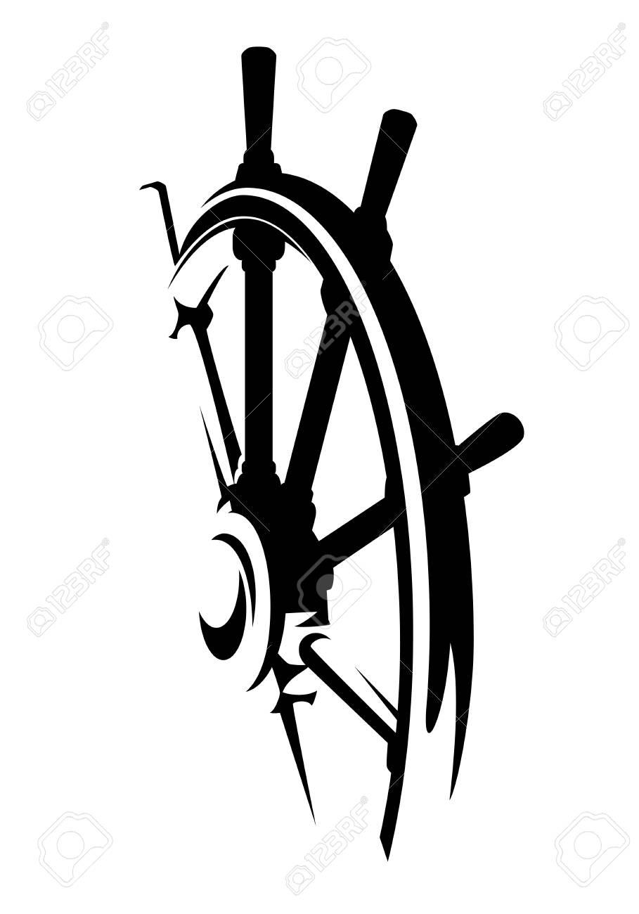 Ship helm design black and white steering wheel vector illustration. - 93262582