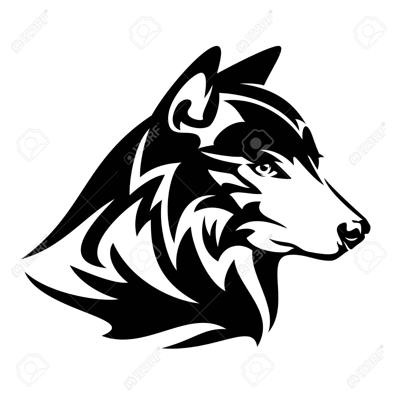 Wild Wolf Profile Head Black And White Vector Design Royalty Free Cliparts Vectors And Stock Illustration Image 110725499