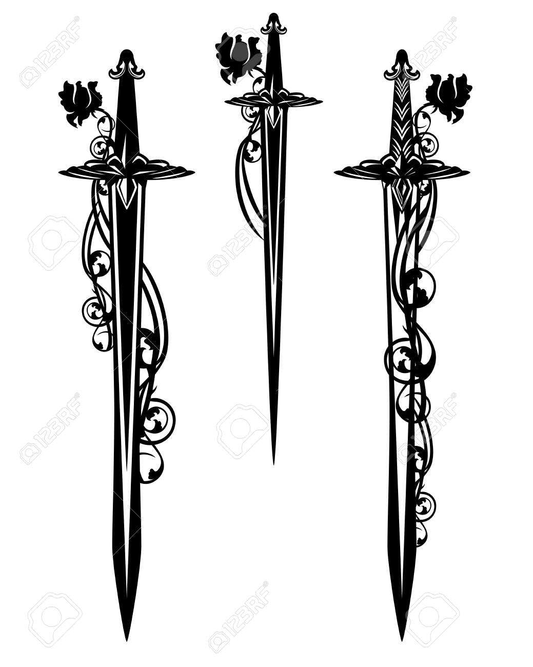 medieval battle sword and dagger blades entwined with rose flowers - black and white design set - 130546580