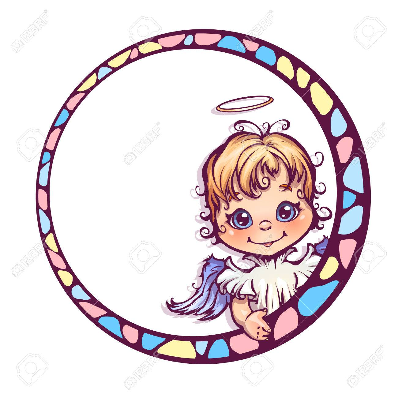 Ilustración Vectorial De Marco Con ángel Lindo. Ilustraciones ...