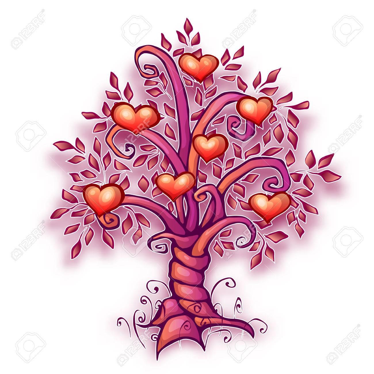 Ilustración Vectorial De Dibujos Animados árbol De Amor Con