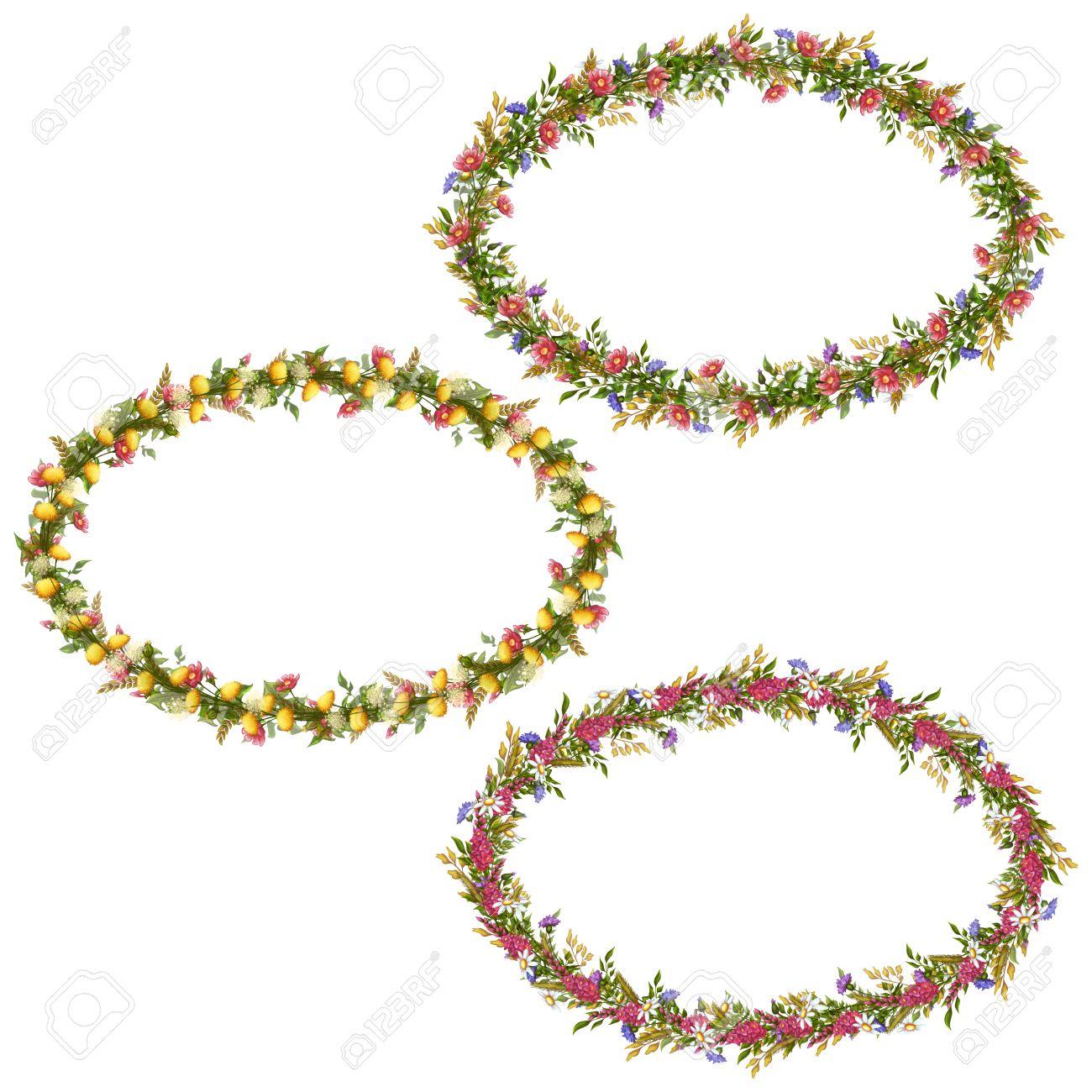 Vector Floral Marcos Ovalados Para Su Diseño. Ilustraciones ...
