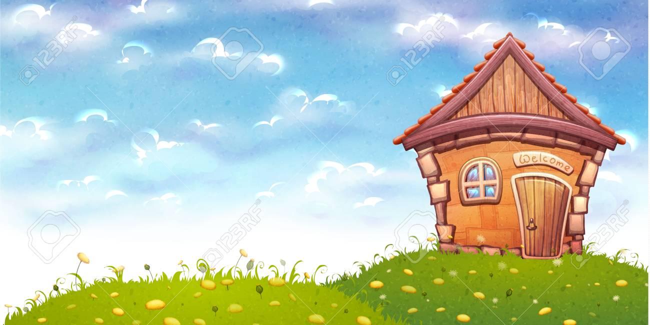 Vector Illustration De La Maison De Dessin Anime Sur La Prairie