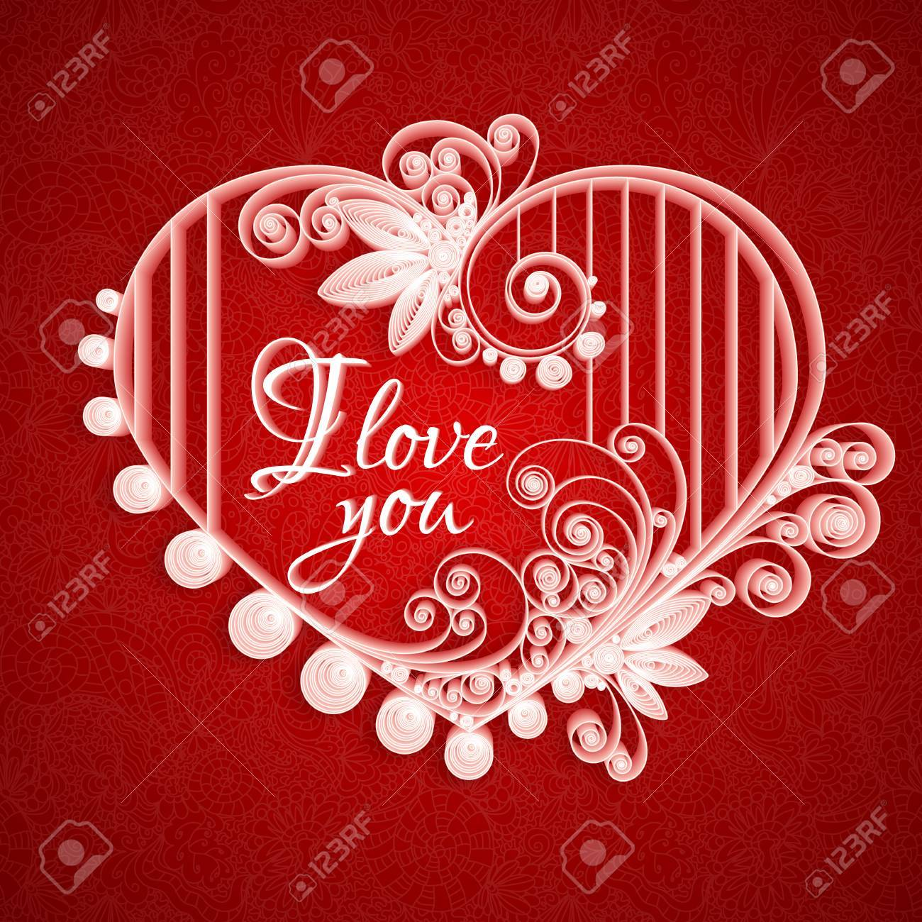Quilling Paper Heart Vector Illustration Happy Valentine Day