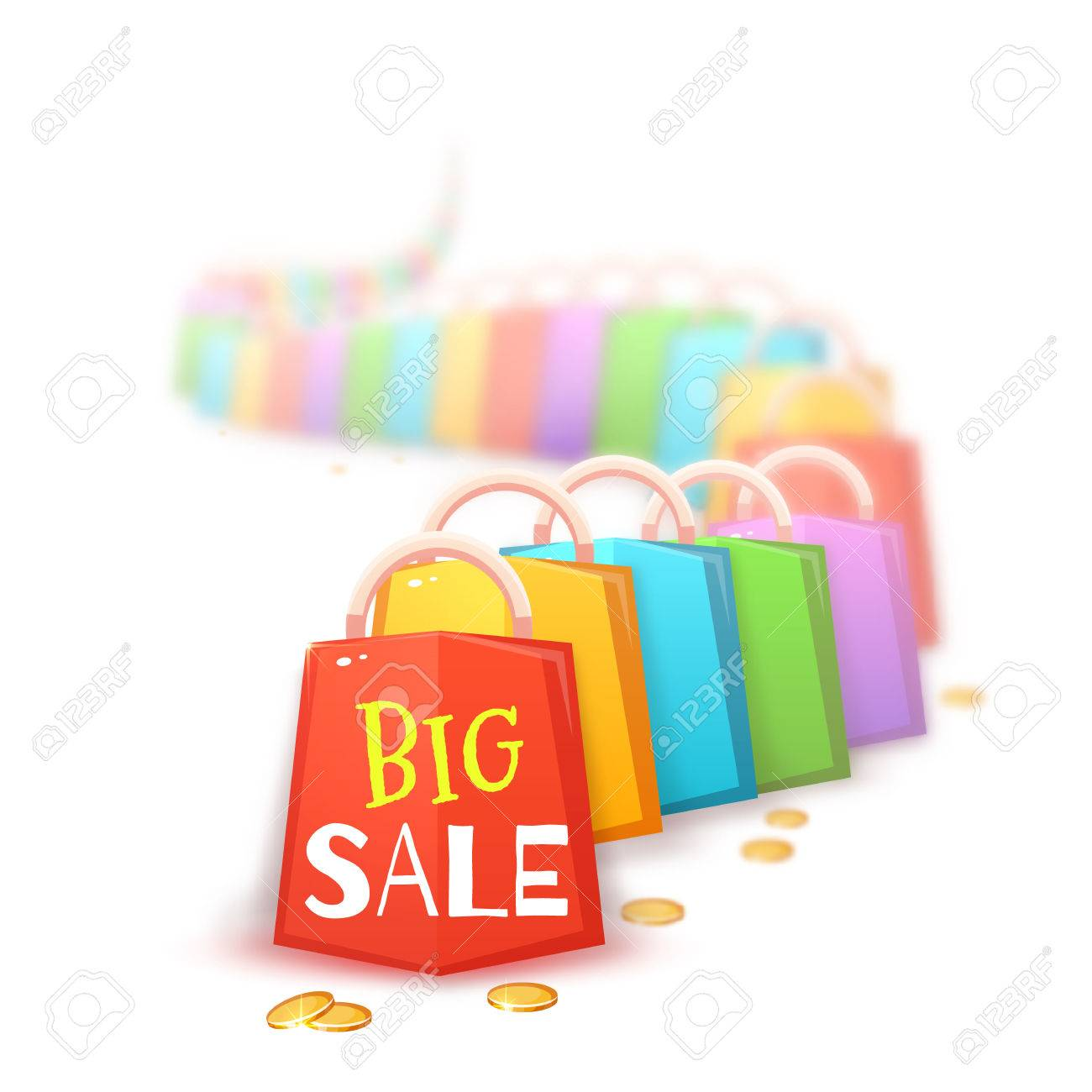 big sale banner with color packets and coins vector illustration stock vector 61122877 - Color Packets