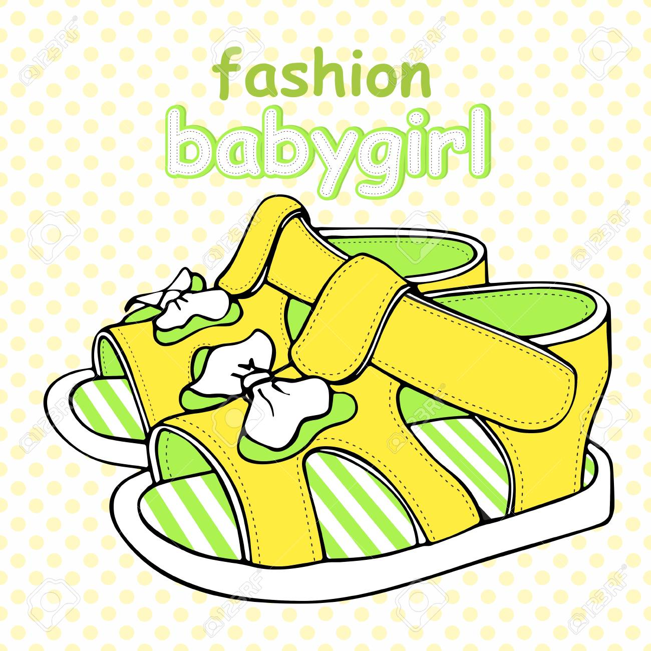 3091667210bb2 Colorful children's sandals with bows for baby boy or baby girl vector  illustration. Stock Vector