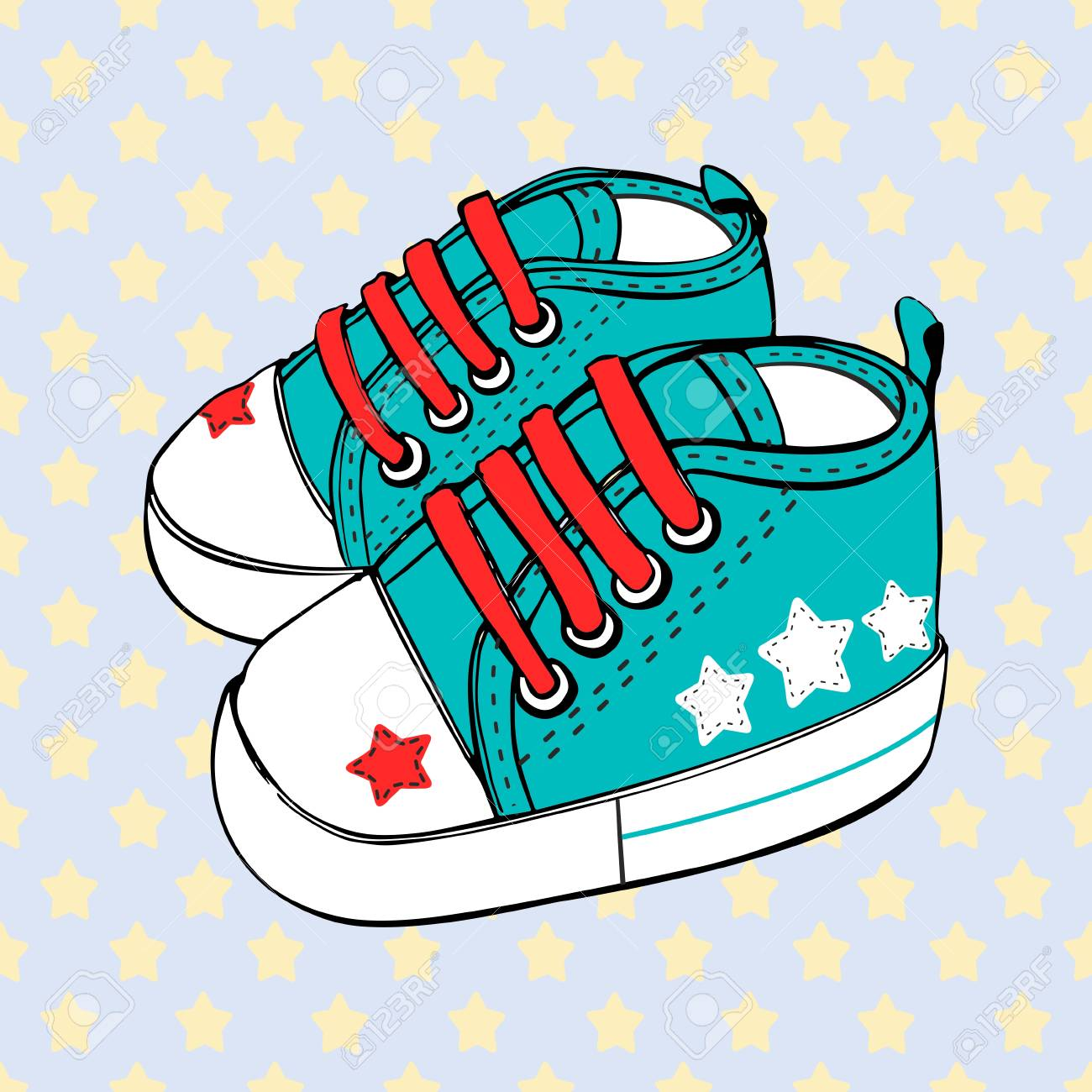 Children S Sport Shoes For Baby Boy Or Baby Girl Vector Illustration Royalty Free Cliparts Vectors And Stock Illustration Image 95770230