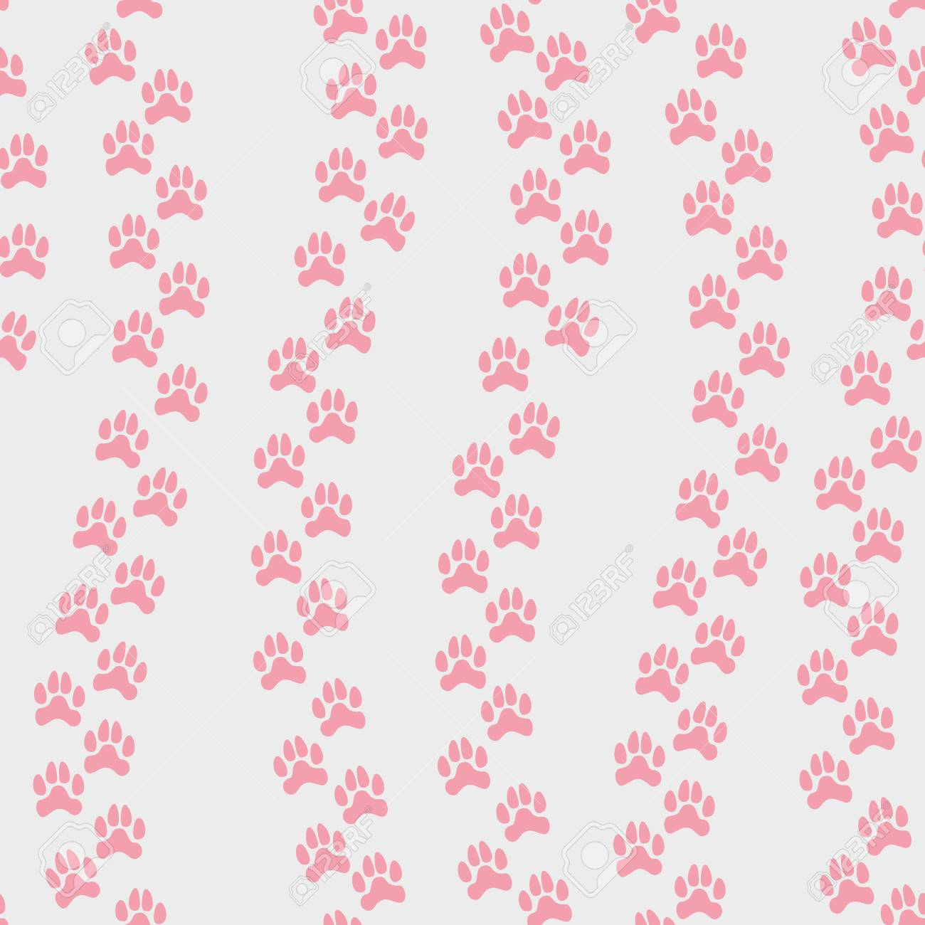 Vector Seamless Pattern With Pink Animals Footprint Isolated