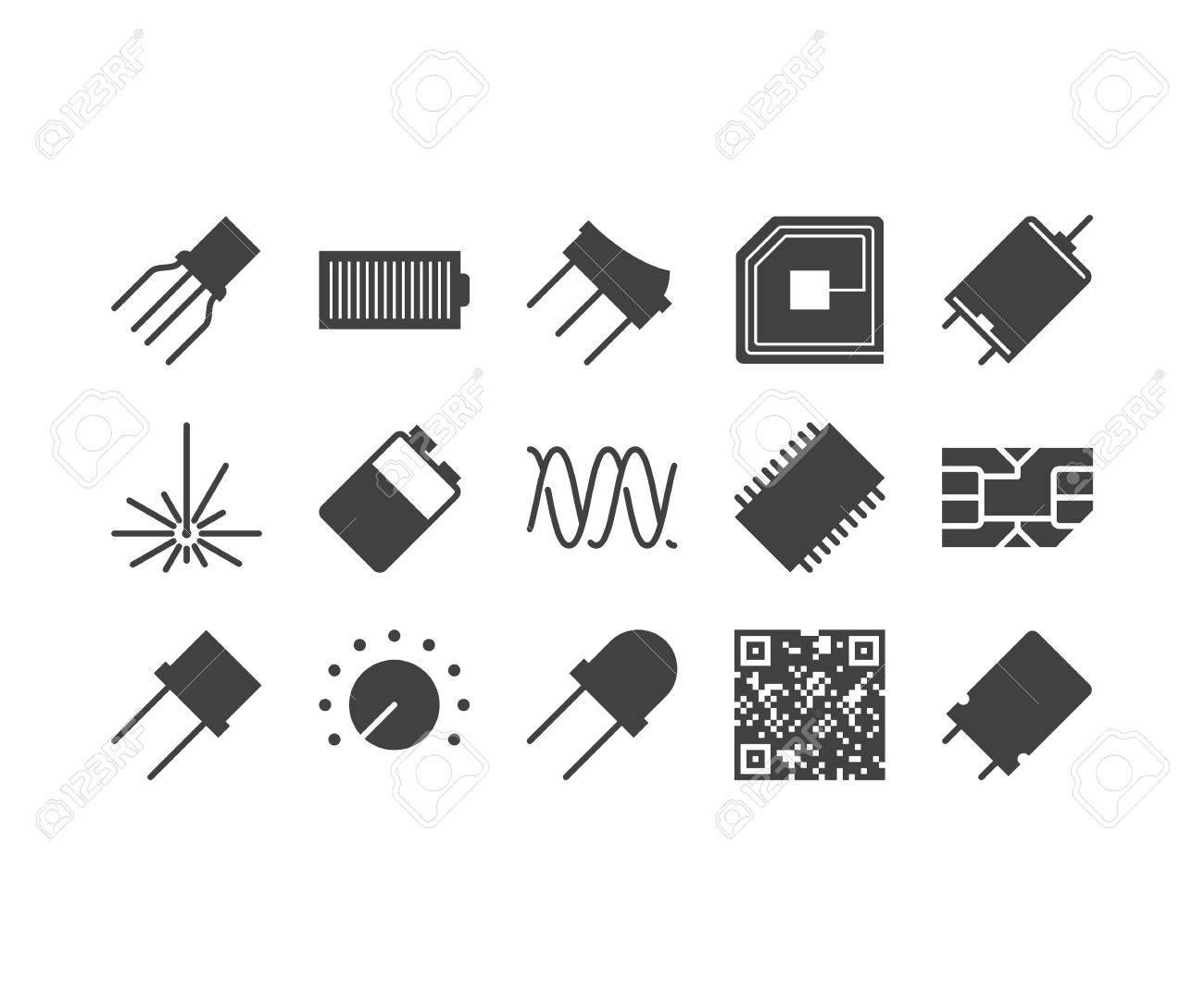 Circuit Diagram Outline Icons Set Royalty Free Cliparts Vectors