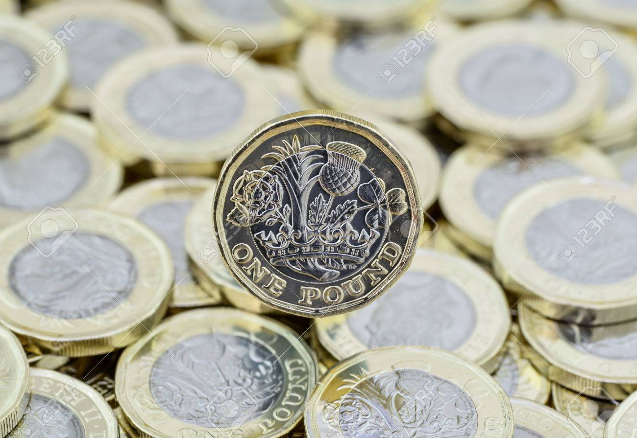 Heap Money British Pound Coins Scattered Showing Detail
