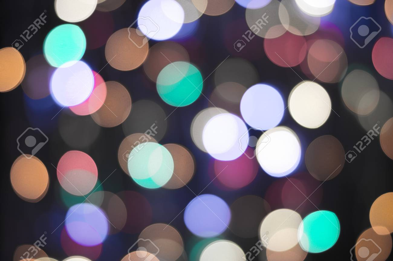 Bokeh Lights Background In Vintage Faded Colours Abstract Christmas Holiday Defocused Stock