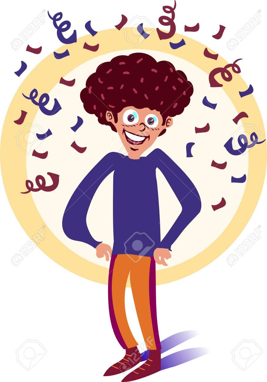 Curly Hair Tall Boy Smiling Cartoon Royalty Free Cliparts Vectors