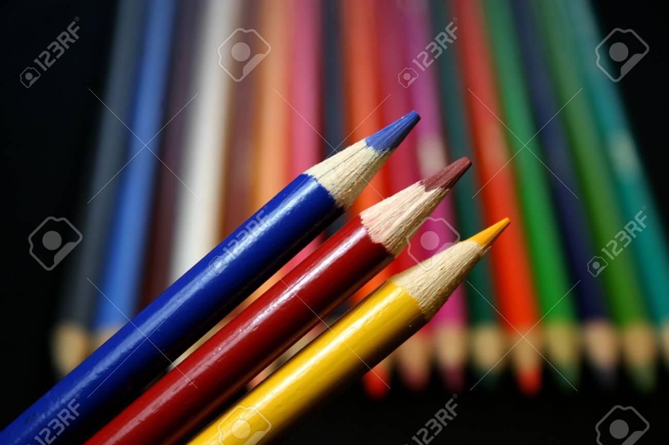 A Variety Of Colored Pencils Featuring The Primary Colors Stock