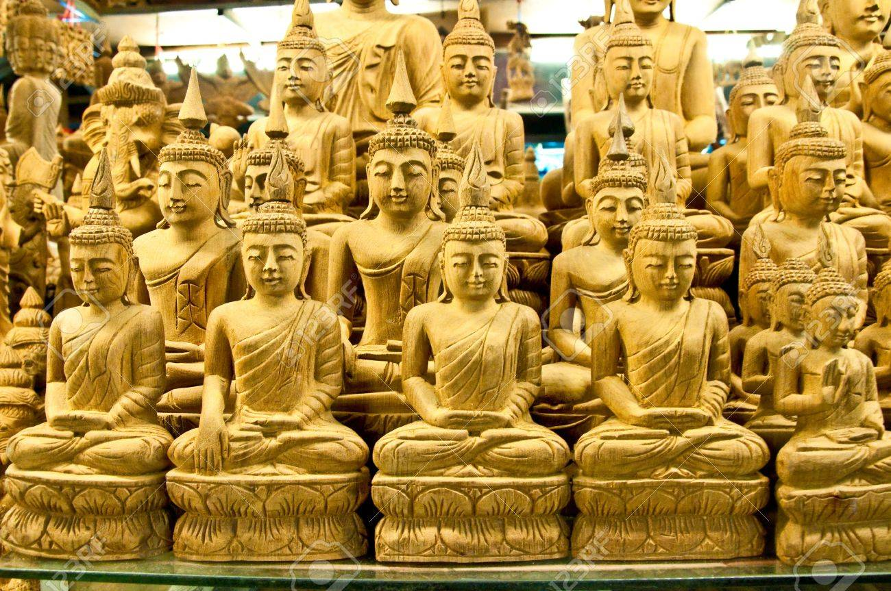 The Wood Buddha Status Stock Photo, Picture And Royalty Free Image ...