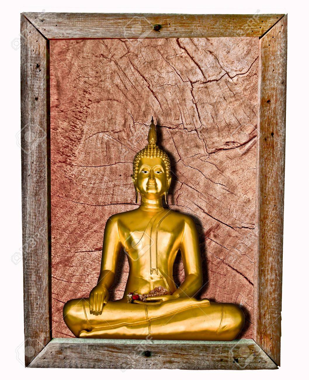 stock photo the buddha status on wood frame isolated on white background