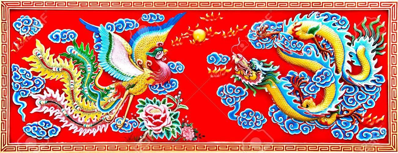 The Dragon and phoenix status Stock Photo - 10811653