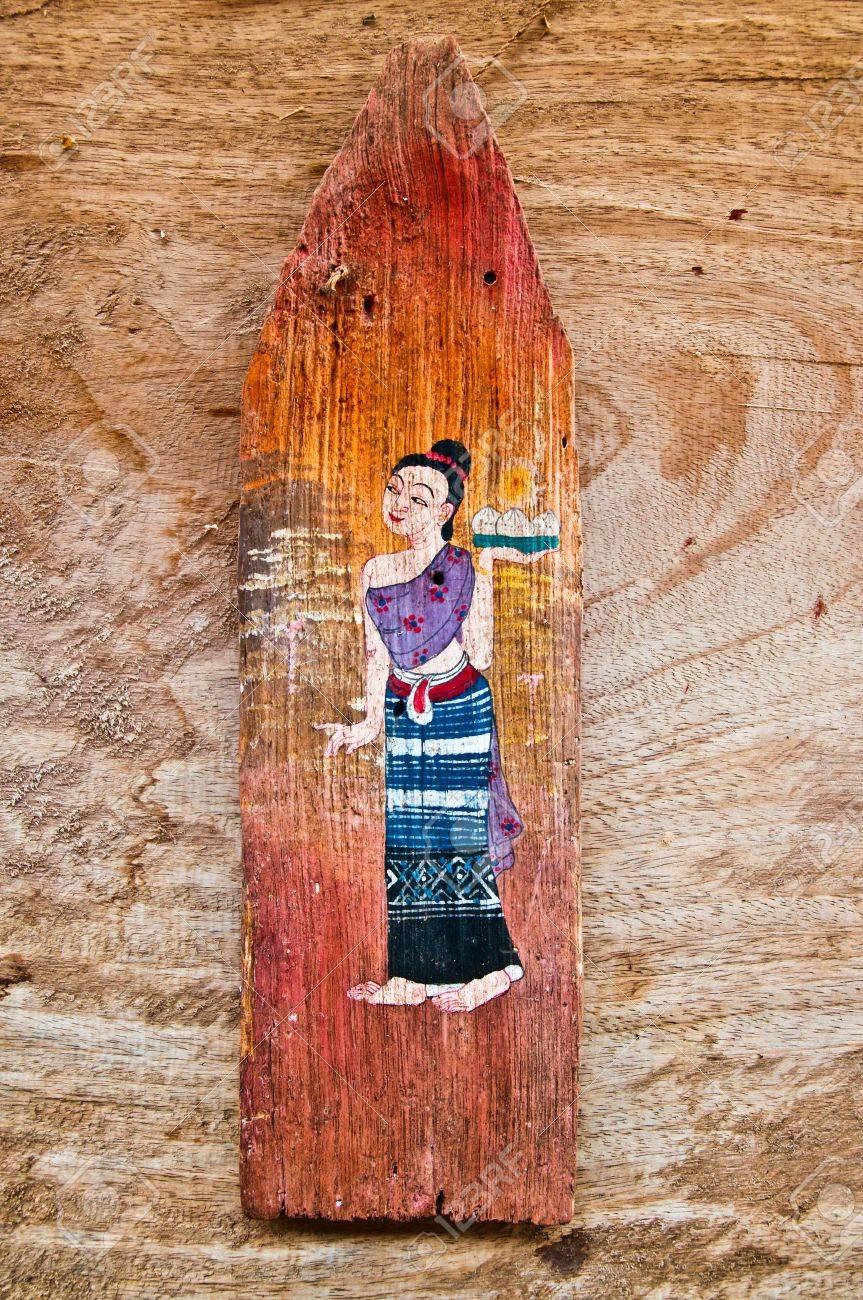 La vieille peinture sur bois isolé sur fond de bois Banque d'images - 11728977
