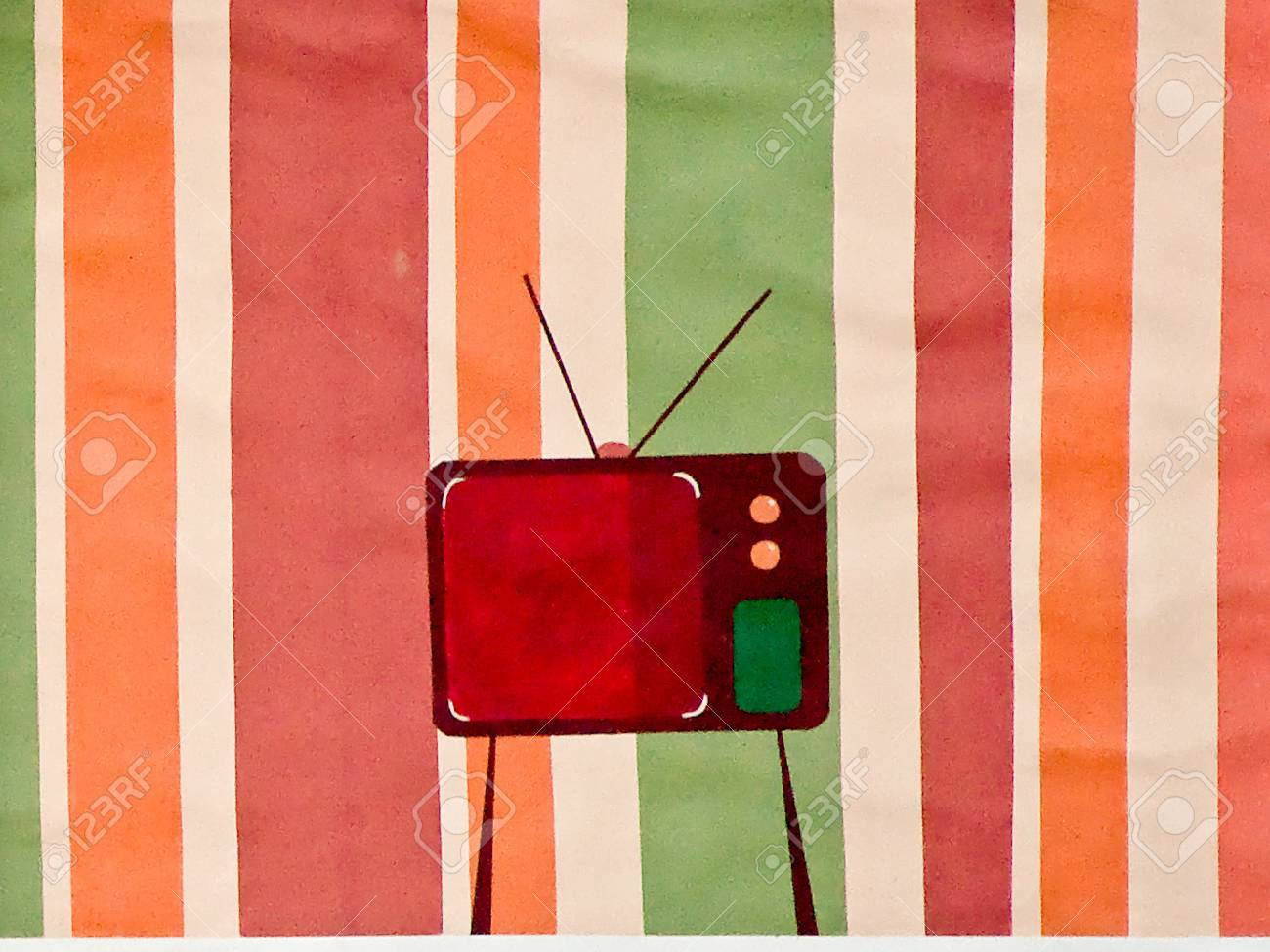 The Painting tv on wall background Stock Photo - 12309495