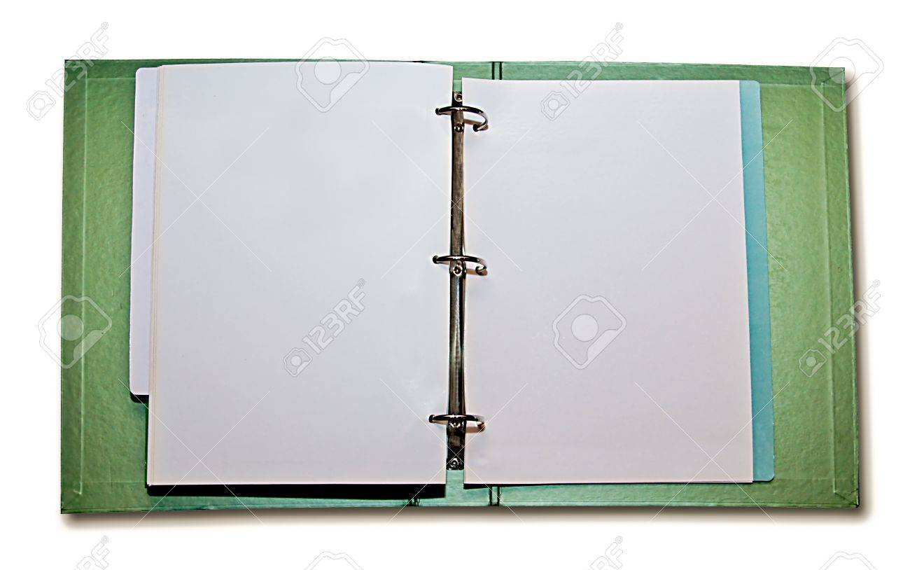 The Opened File Folder With White Paper Inside Isolated On White ...