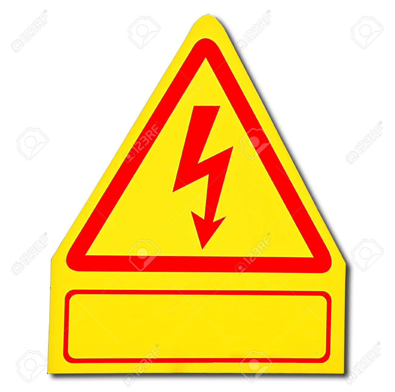 The Sign of danger of electricity from high voltage isolated on white background Stock Photo - 13598040