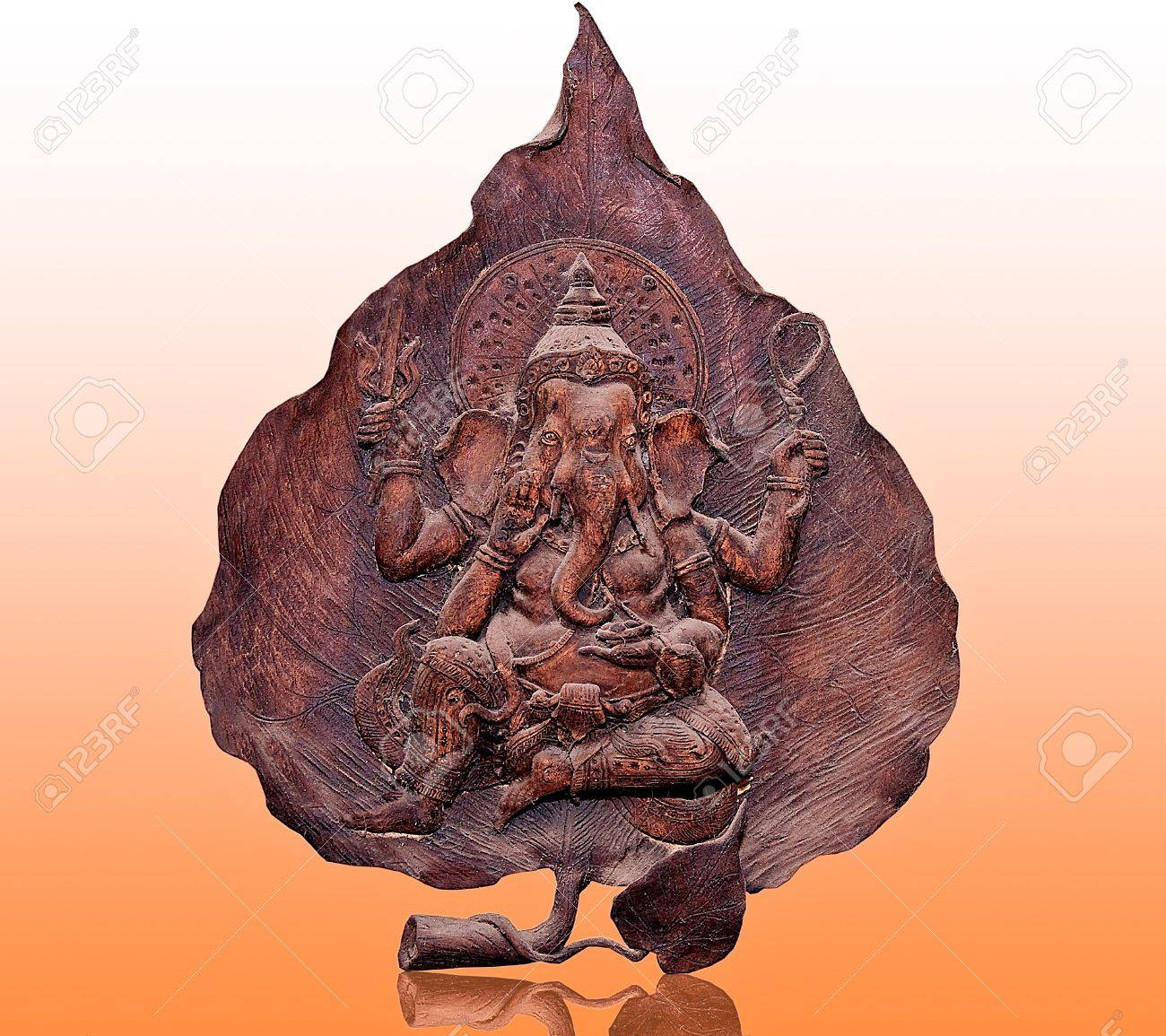 The Carving wood of ganesha on reflect background Stock Photo - 13776413