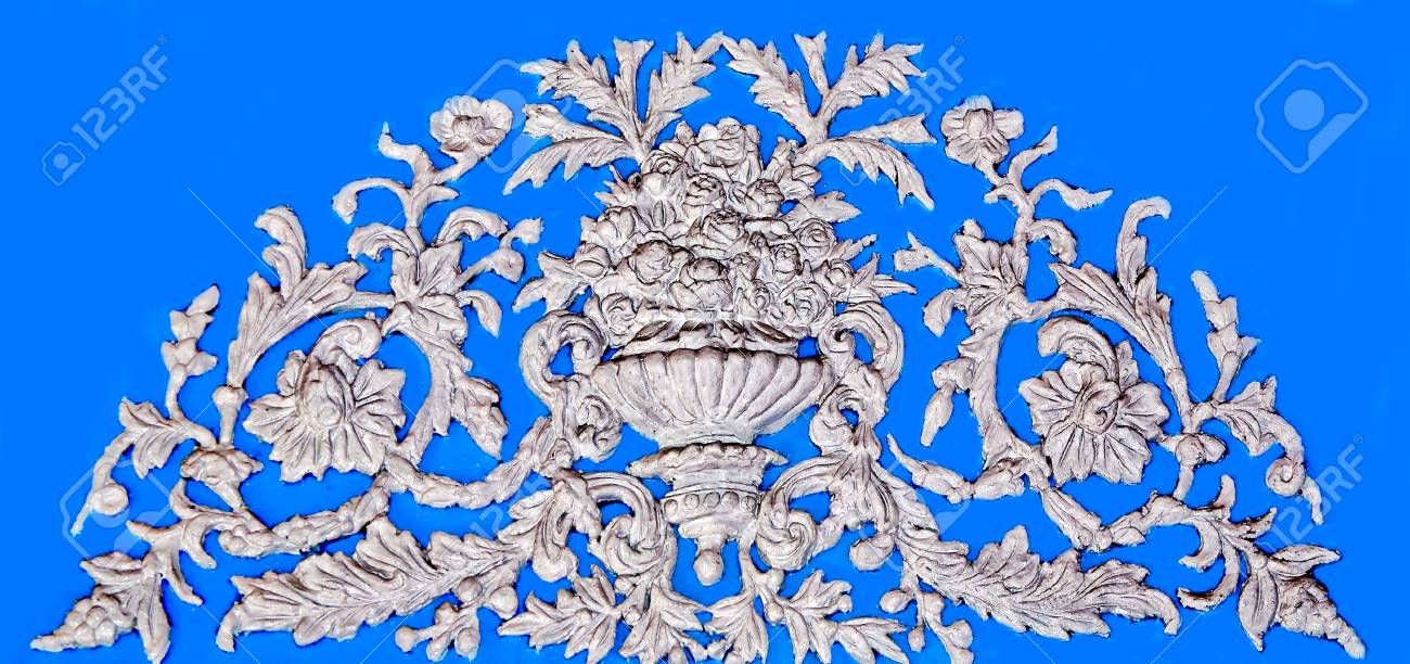 The White stucco design of native thai style on the Wall Stock Photo - 14251473
