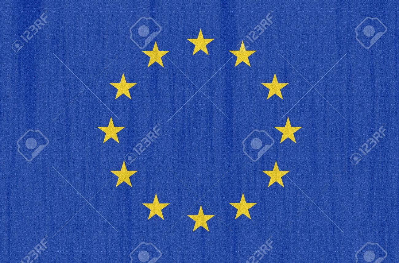 Bandera De Europa, La Unión Europea (UE) Con Una Trama De Fondo ...