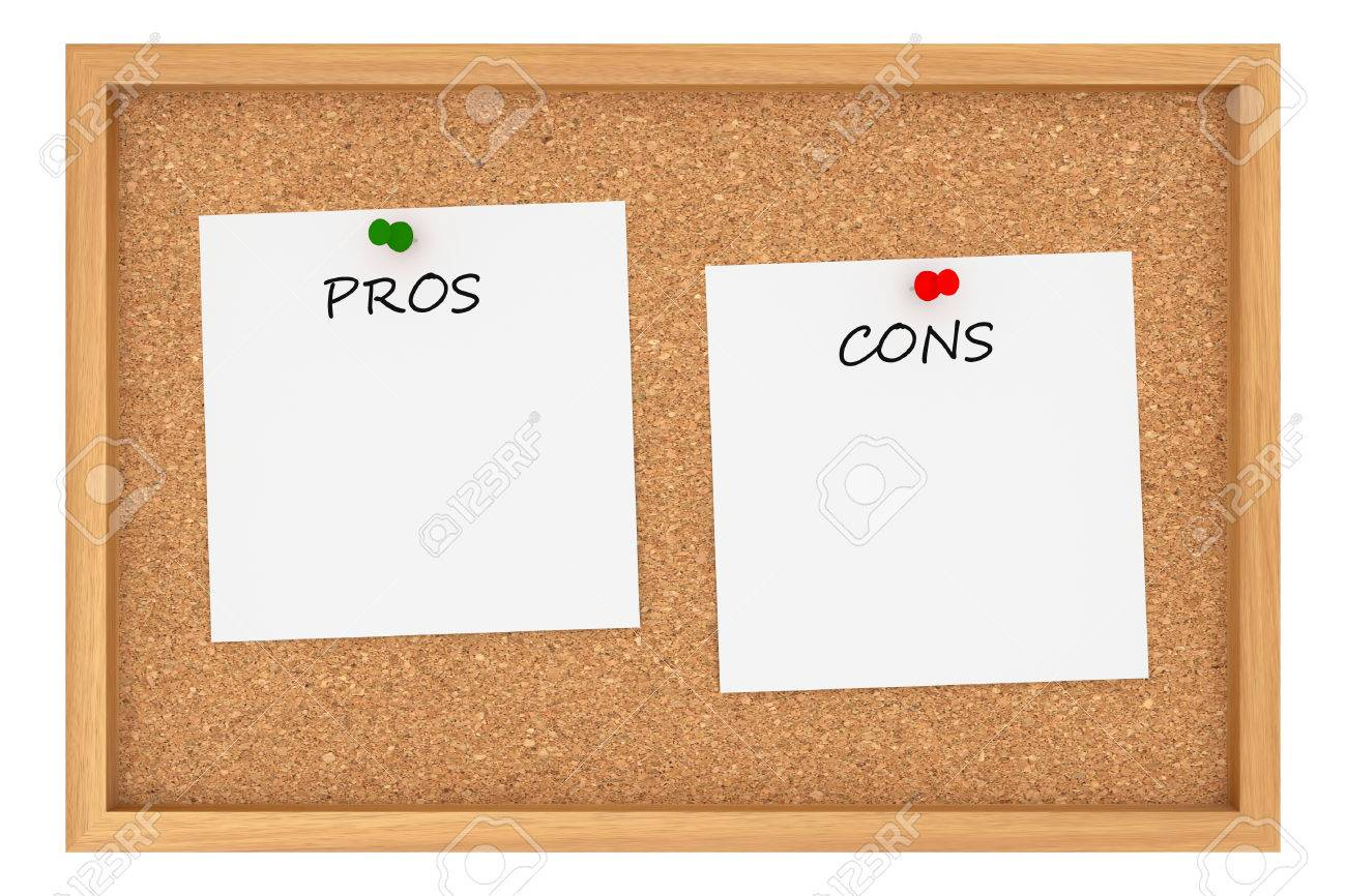 Pros And Cons: Cork Board With Wooden Frame Isolated On White ...