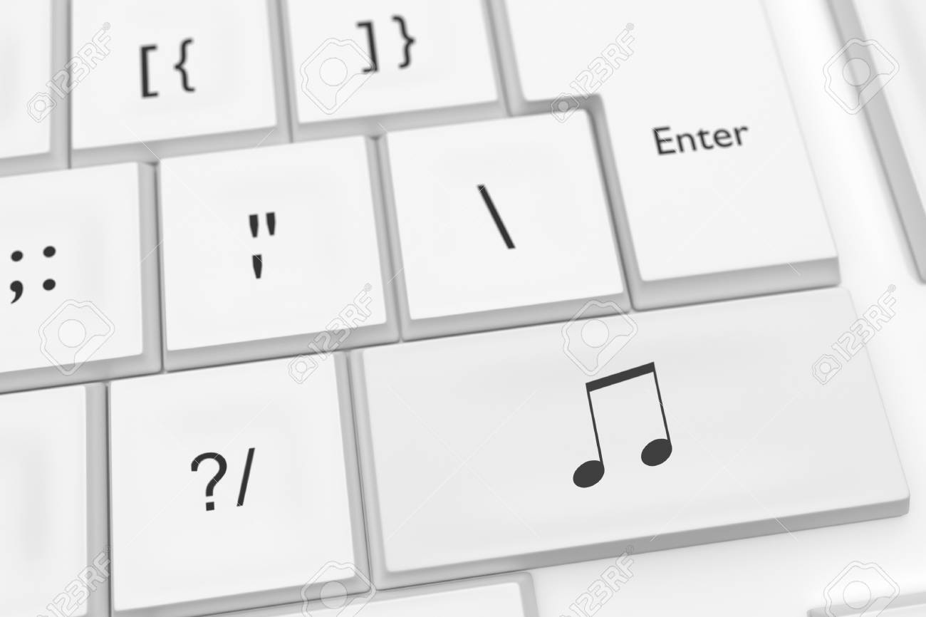 Computer Keyboard With Musical Note Symbol Button 3d Illustration