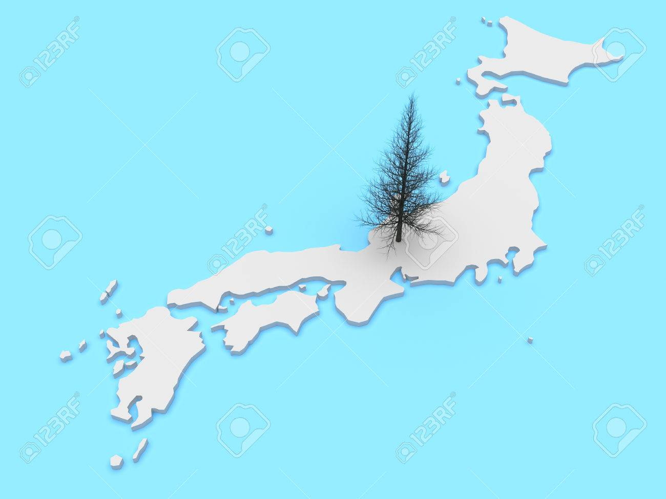 3d Illustration Of Japan Map With Pine Tree As Japanese Symbol