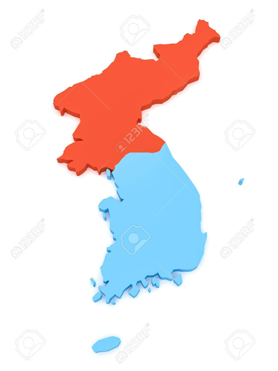 3d Illustration Of North Korea And South Korea Map Isolated On
