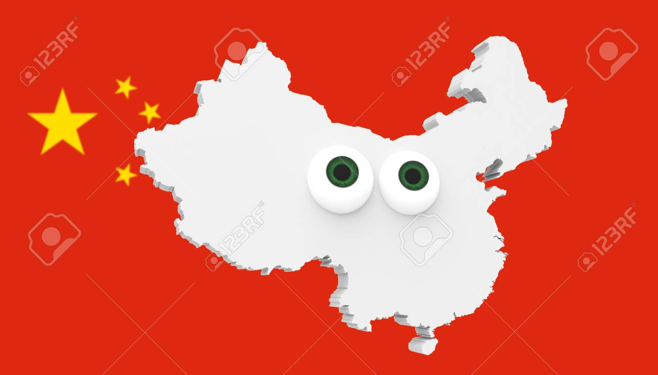 Cartoon Country Map China With Big Eyes Chinese Flag In Background on