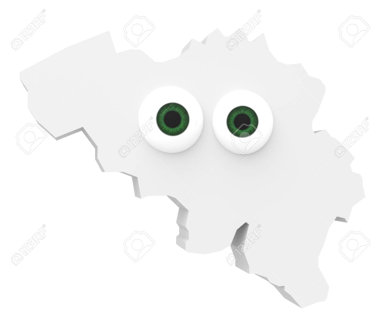cartoon country map belgium with big eyes isolated on white background 3d illustration stock illustration