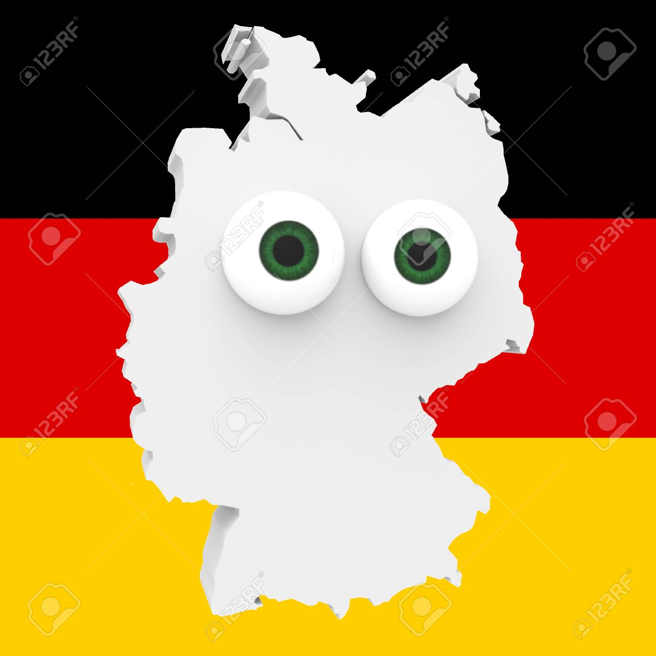 Cartoon Map Of Germany.Cartoon Country Map Germany With Big Eyes German Flag In Background