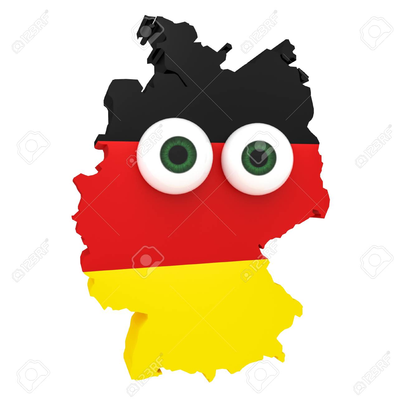 Cartoon Map Of Germany.Cartoon German Flag Map Germany With Big Eyes Isolated On White