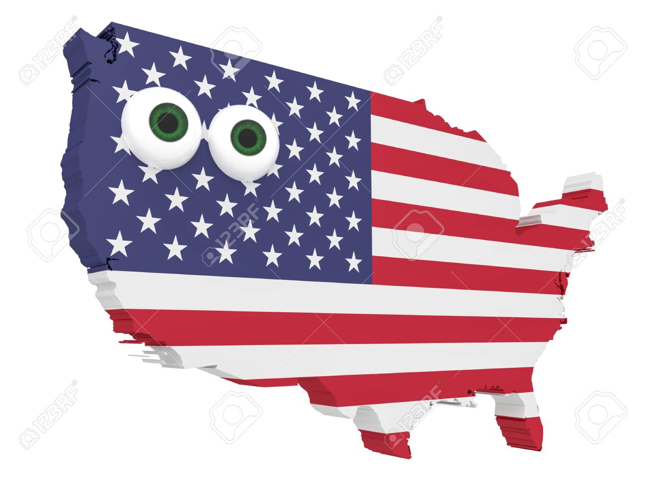 Cartoon Us Flag Map Usa With Big Eyes Isolated On White Background