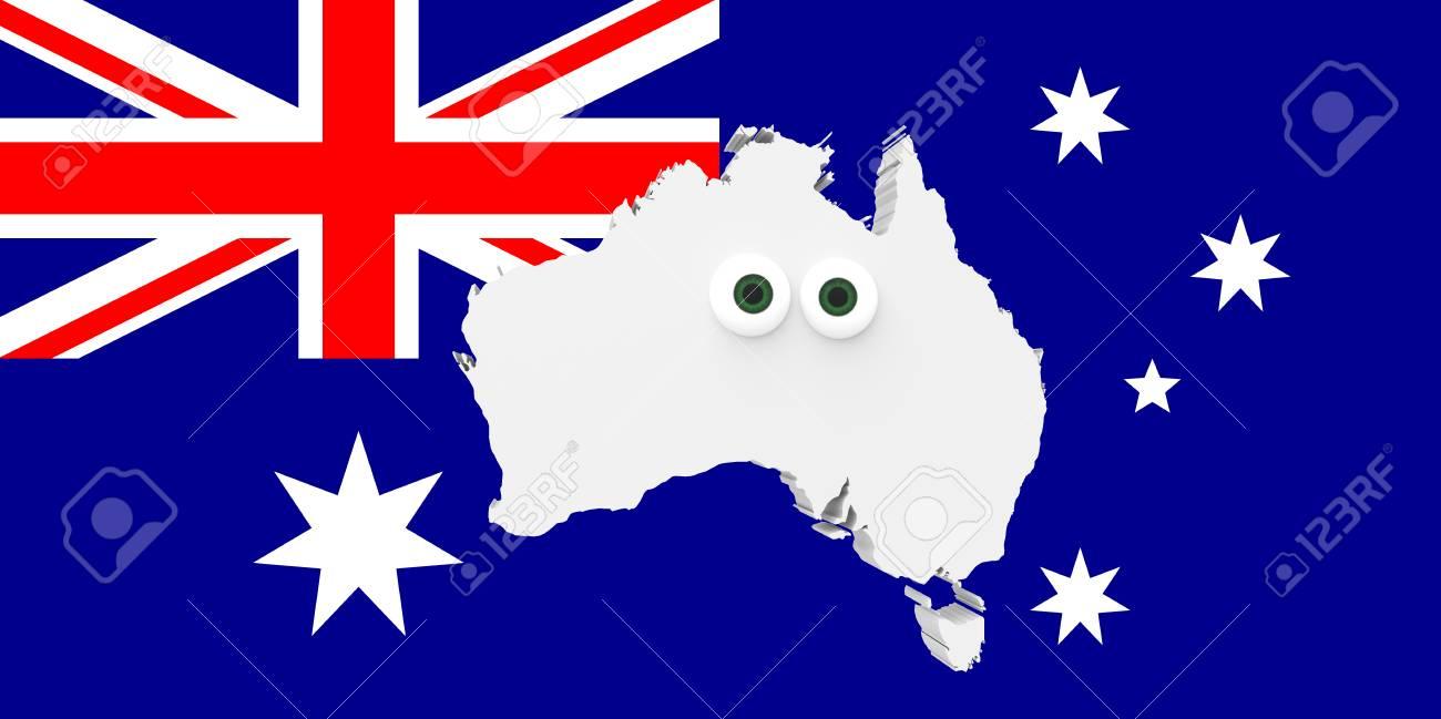 Carte Australie Drapeau.Carte De Pays Dessin Anime Australie Avec De Grands Yeux Drapeau Australien De Fond Illustration 3d
