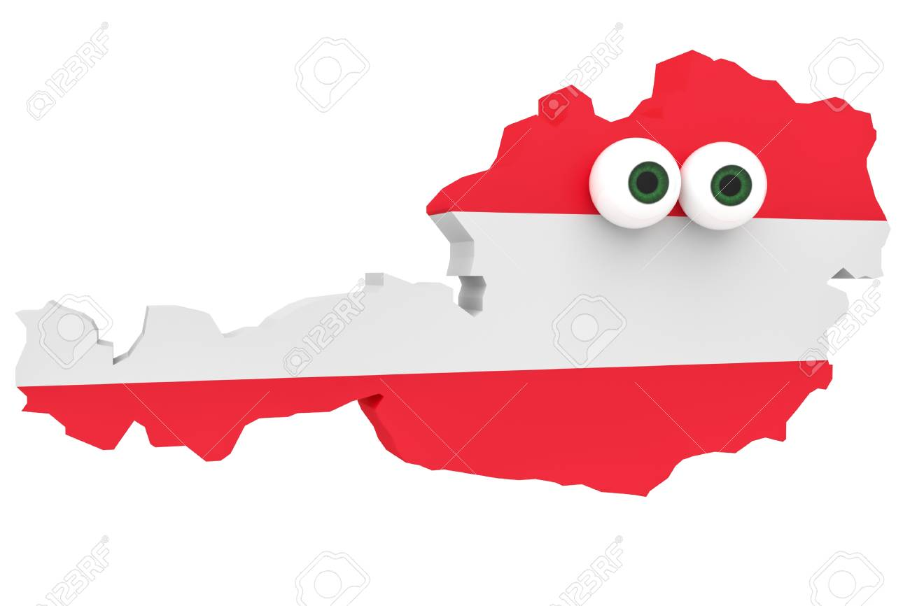cartoon austrian flag map austria with big eyes isolated on white