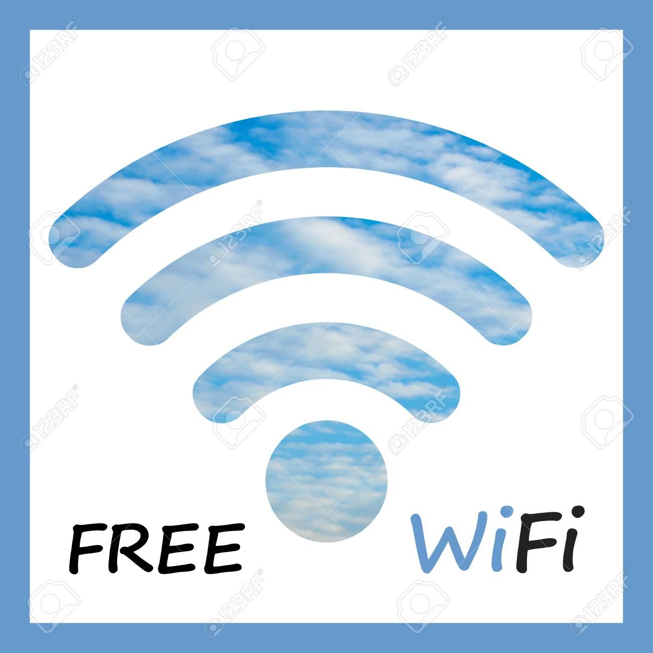 WiFi Gratuito: Icono Con Cielo Nublado Visible A Través De Fondo ...