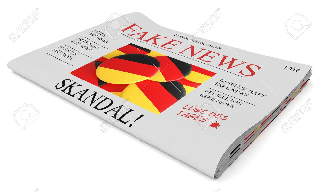 Fake News Germany Concept: Newspaper Front Page, 3d Illustration ...