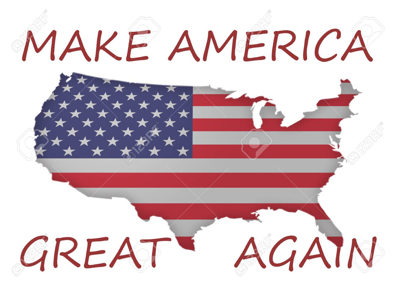 3d stars and stripes flag us map with political slogan make america great again 3d