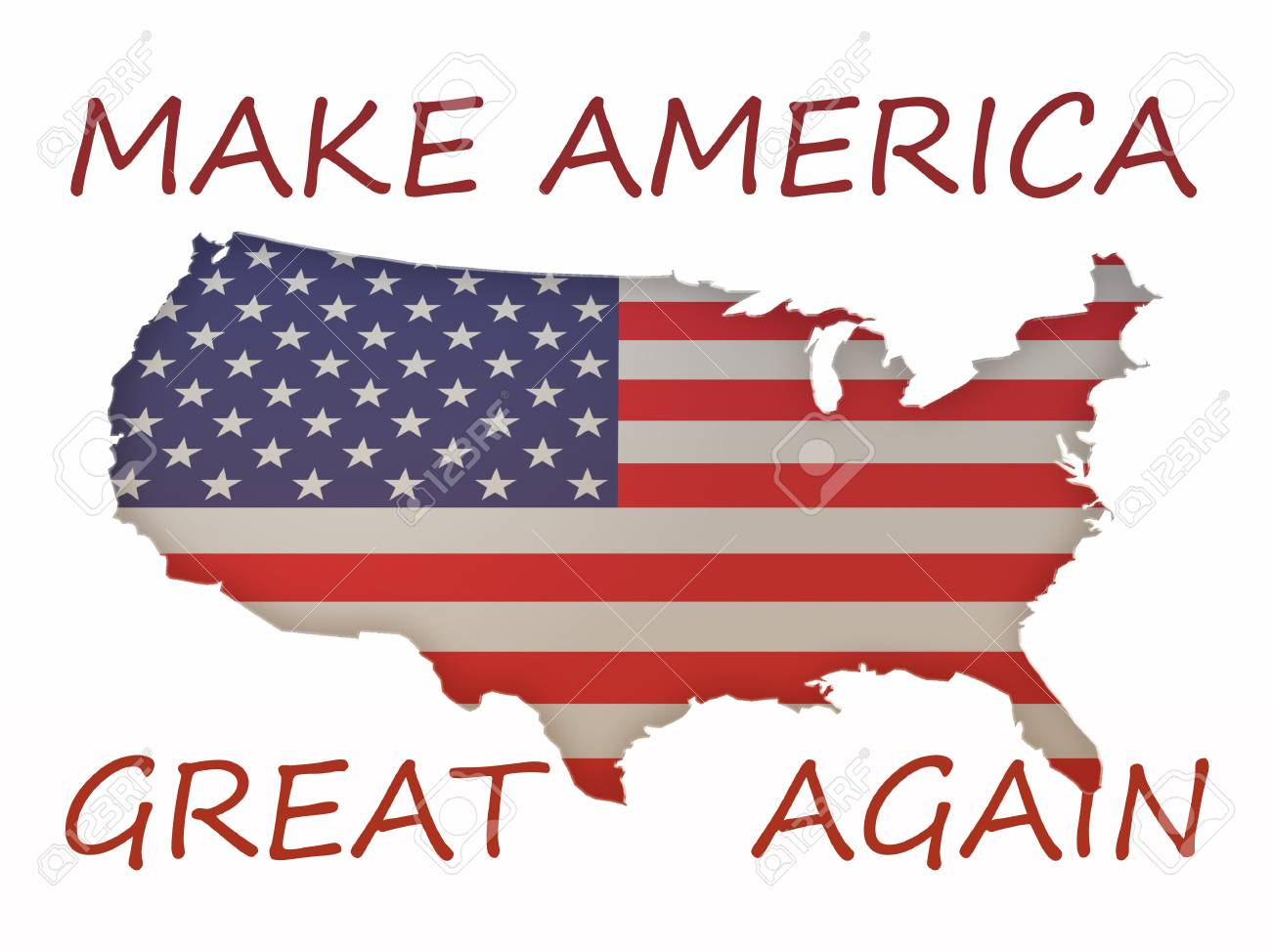 3d Stars And Stripes Flag Us Map With Political Slogan Make America - American-flag-us-map