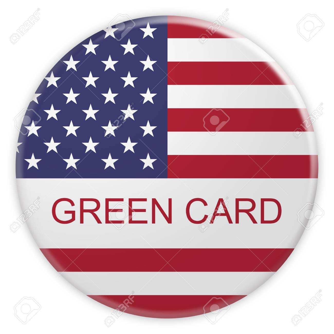 Badge De Concept Immigration Usa Bouton Carte Verte Avec Drapeau Americain Illustration 3d Sur Fond Blanc Banque D Images Et Photos Libres De Droits Image 72449074