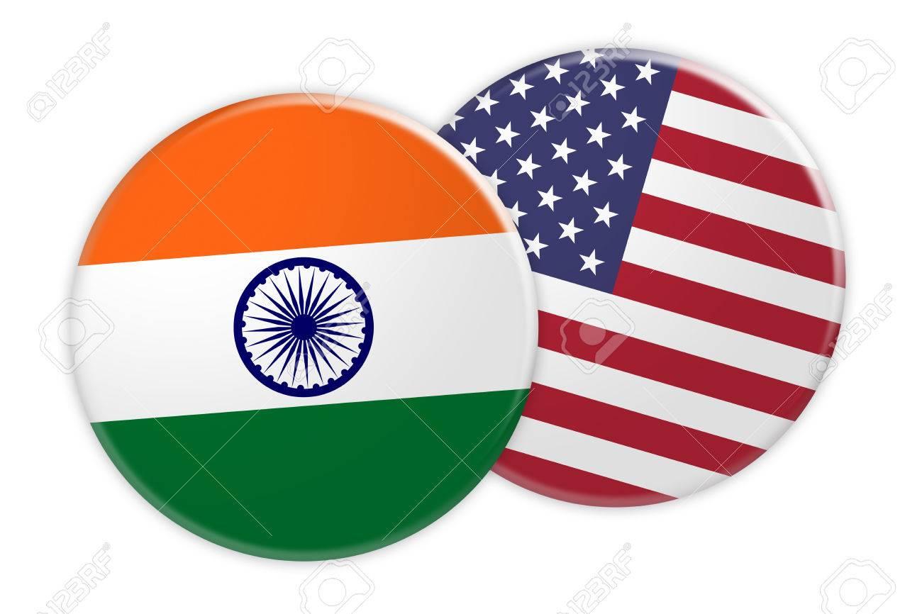 Nachrichten Konzept Indien Flaggen Knopf Auf Usa Flaggen Knopf