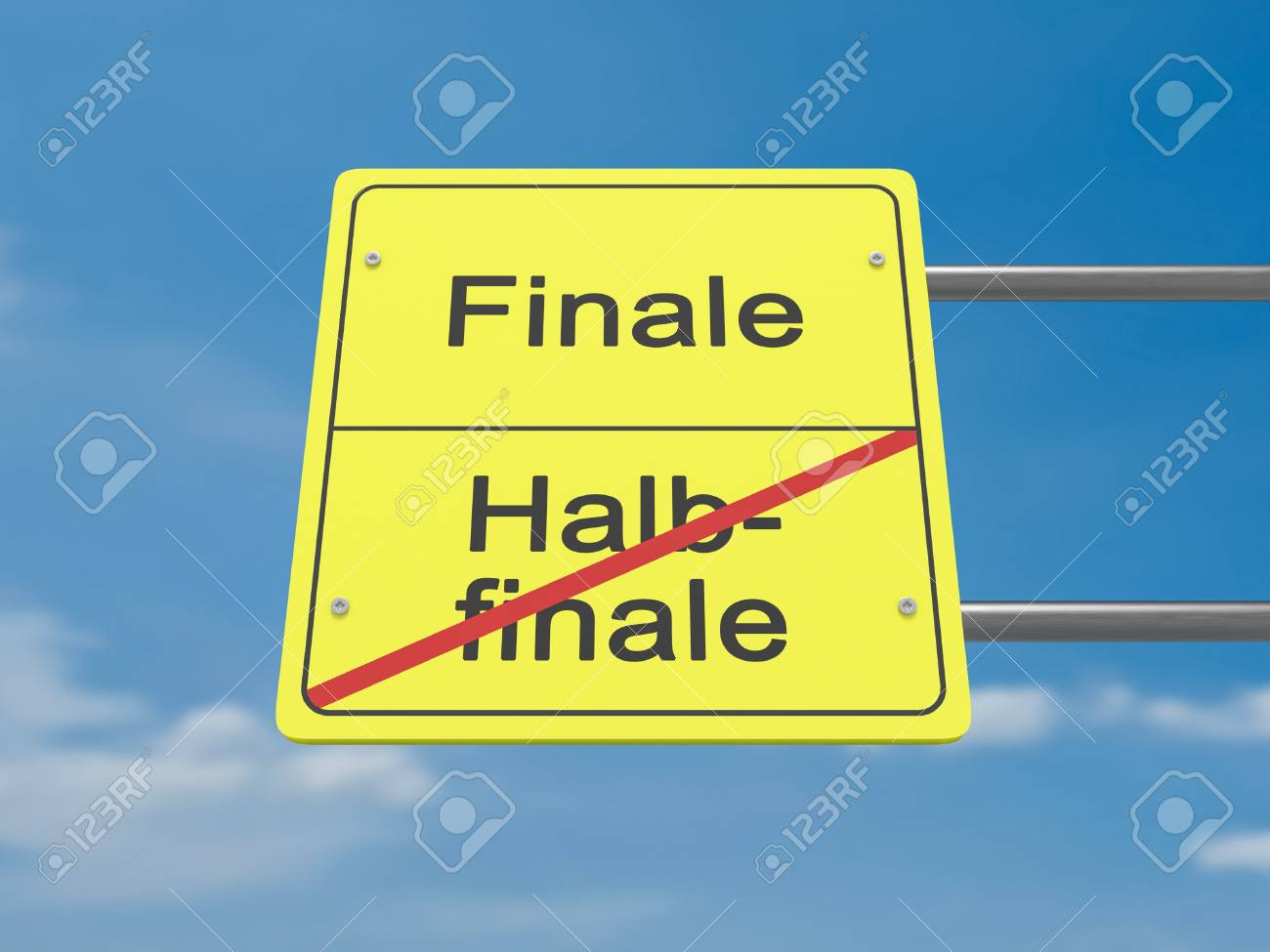 Sport News Concept Road Sign Halbfinale Und Finale Meaning Stock Photo Picture And Royalty Free Image Image 77014207