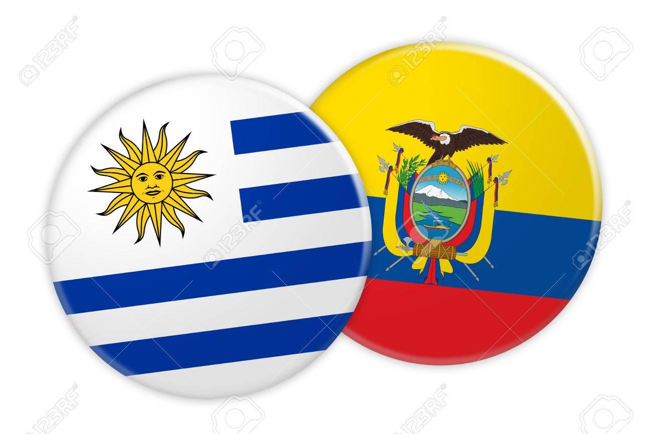 News Concept Uruguay Flag Button On Ecuador Flag Button D - Uruguay flag