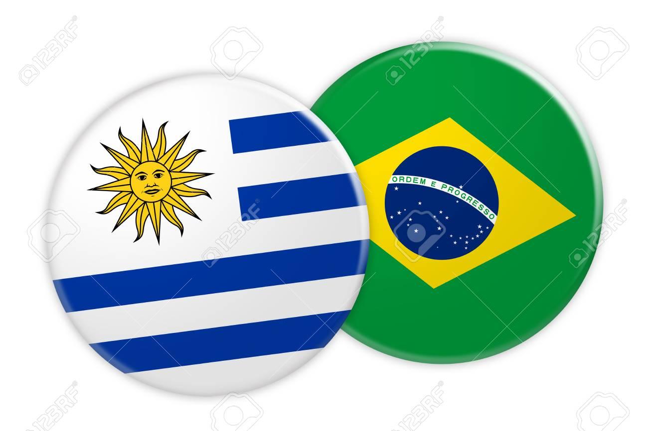 Nachrichten Konzept Uruguay Flag Button Auf Brasilien Flag Button