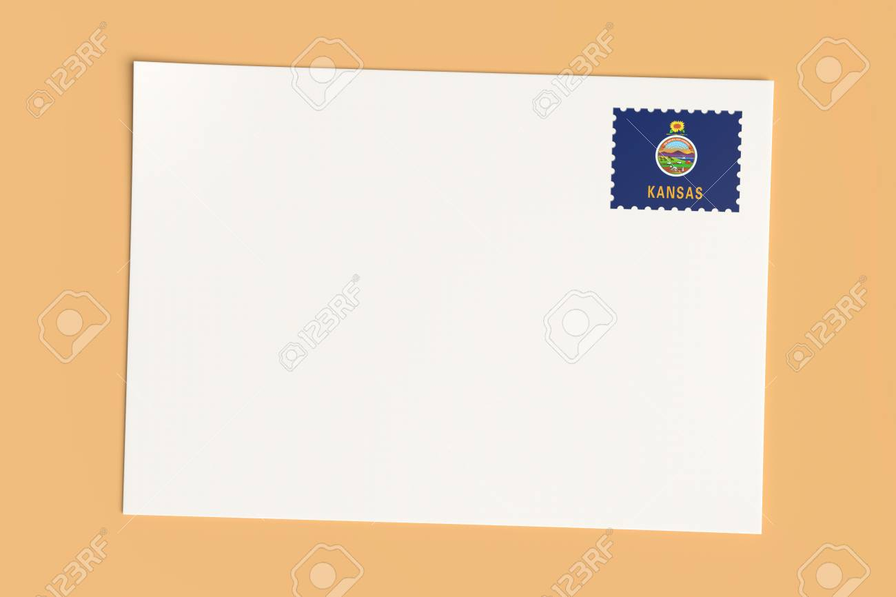 letter or postcard from us states blank white card with kansas